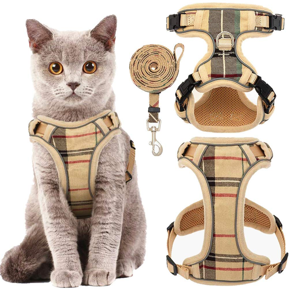 KOOLTAIL Cat Harness and Leash Set for Walking Escape Proof, Beige Plaid Adjustable Soft Pet Vest Harnesses for Small…