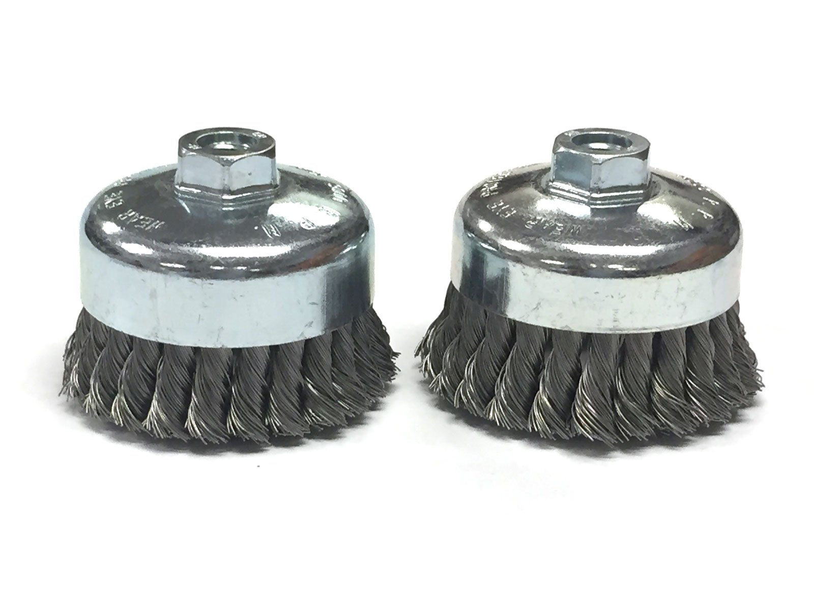 4'' Dia Knot Style Cup Brush - Carbon Steel Wire - 2 Pack