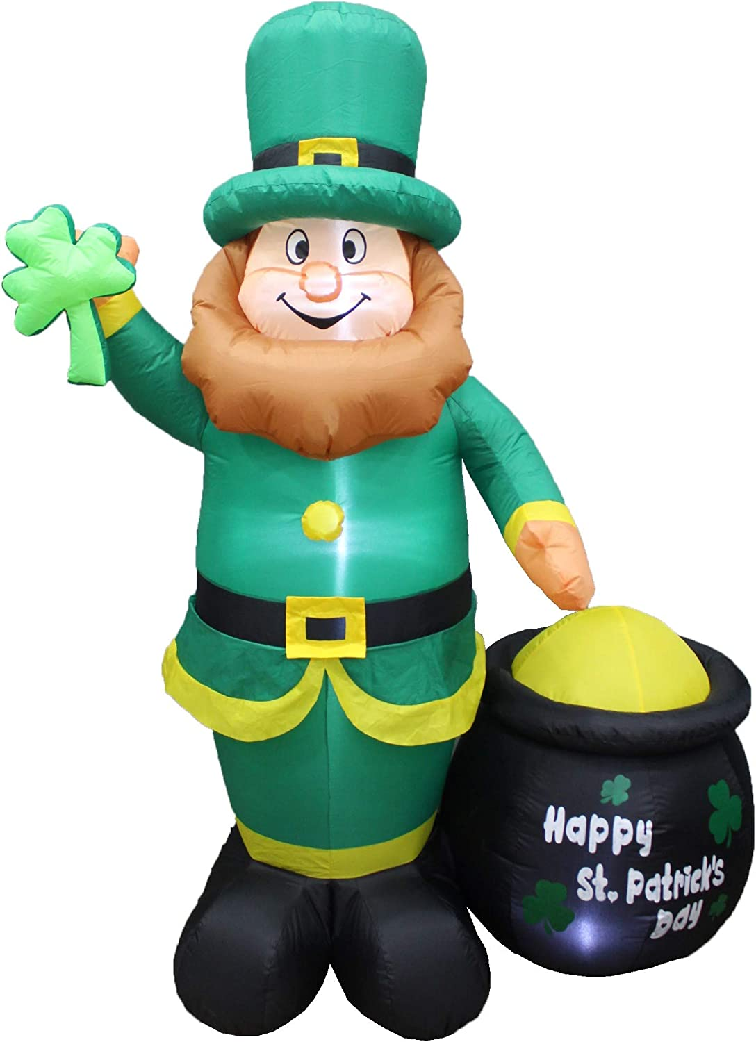 BZB Goods 6 Foot Tall Lighted St Patricks Day Inflatable Leprechaun Holding Shamrock with Pot of Gold LED Lights Cute Lucky Indoor Outdoor Lawn Yard Art Decoration