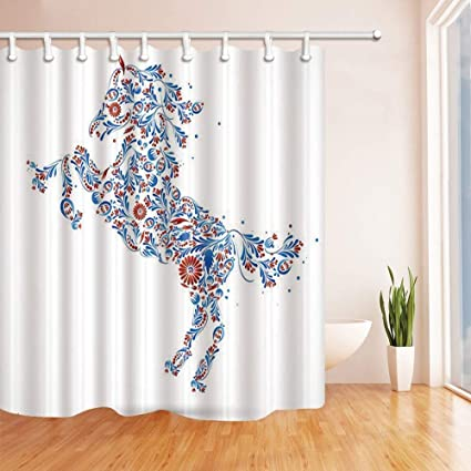 CdHBH Creative Patterns Designed Horse Shower Curtains Polyester Fabric Waterproof Bath Curtain 71X71 In