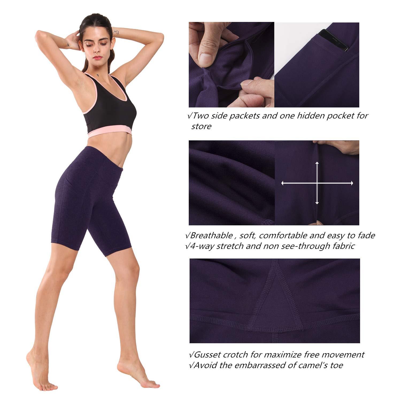 Ogeenier Femmes Shorts de Sport Casual Yoga Taille Haute Pantalons Courtes de Yoga avec Poche lat/érale
