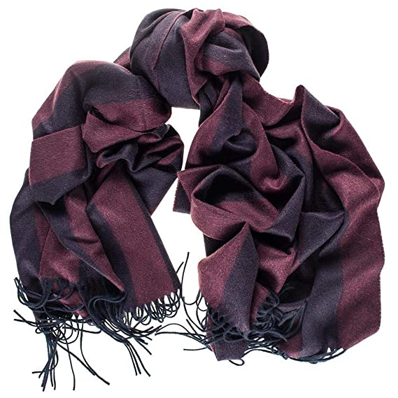 88d54e2b9951d Oversize Burgundy and Navy Stripe Cashmere Blanket Scarf: Amazon.co ...