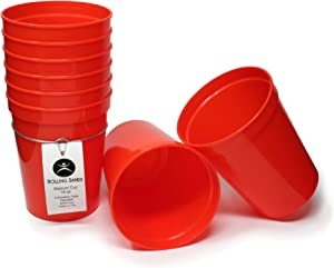 Rolling Sands 16 Ounce Reusable Plastic Stadium Cups Orange, 8 Pack, Made in USA, BPA-Free Dishwasher Safe Plastic Tumblers