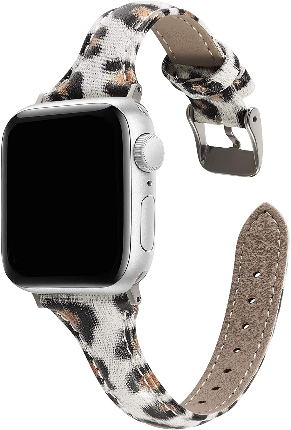 TCSHOW 44mm 42mm Slim Leather Leopard Style Watch Band Strap Wrist Band with Silver Metal Adapter Replacement for iWatch Series 6/5/4/3/2/1(Not for iWatch 40mm/38mm)