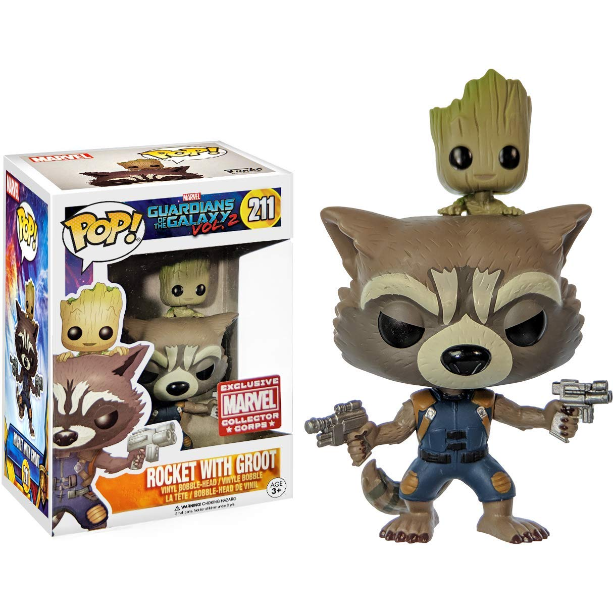 Funko Pop! Marvel Guardians of the Galaxy vol. 2 #211 Rocket with Groot Marvel Collector Corps Exclusive