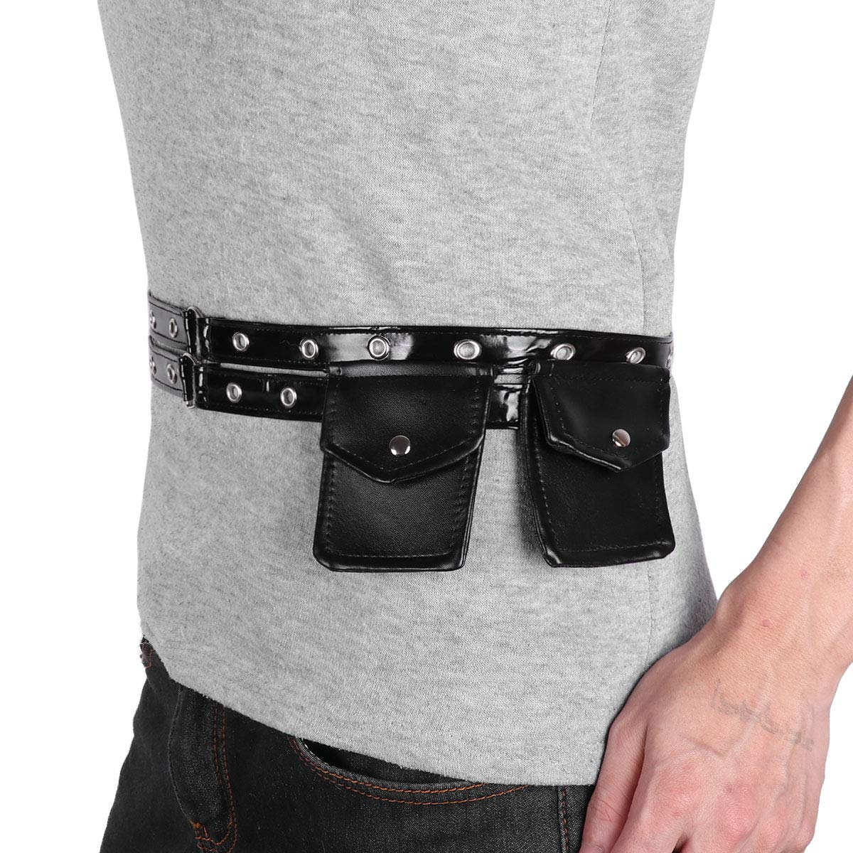 IEFIEL Fashion Steampunk Waist Fanny Pack Bag Corset Belt Costume Accessories Black One Size