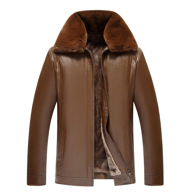 EVNGA Casual Coat 2018 Herbst Leder Pu Jugend Mann Schlank Reine Farbe Trend Freizeit, Kaffee, M