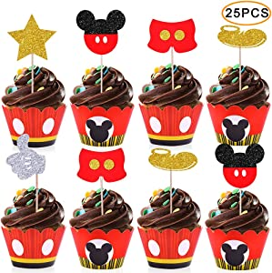 Micky Cupcake Toppers Wrappers Kids Birthday Micky Party Supplies-25 Topper 25 Wrappers