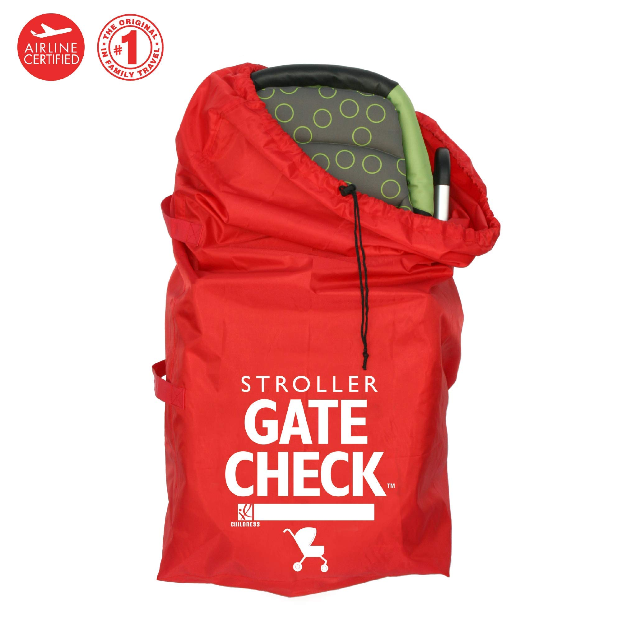 J.L. Childress Gate Check Bag for Standard and Double Strollers, Durable and Lightweight, Water-Resistant, Drawstring Closure with Adjustable Lock, Webbing Handle, Includes Stretch Zipper Pouch, Red by J.L. Childress