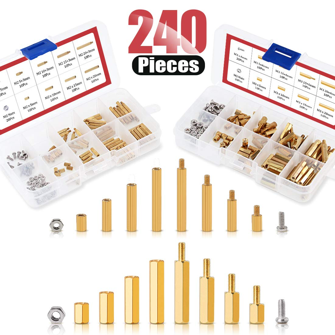 Hilitchi 240Pcs M2 M3 Male Female Hex Brass Spacer Standoff Screw Nuts Hex Standoff M2 Threaded Pillar Motherboard Assortment Kit
