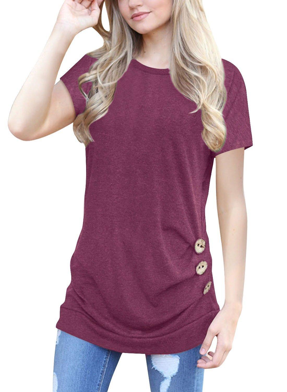 Simaier Women's Casual Round Neck T-Shirt Loose Splice Short Sleeve Tops Blouse JXX0038-CA-GM
