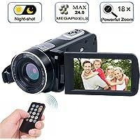 Digital Camcorder with IR Night Vision, WEILIANTE Full HD Digital Video Camera 24.0Mega Pixels 18X Digital Zoom (Two Batteries Included)