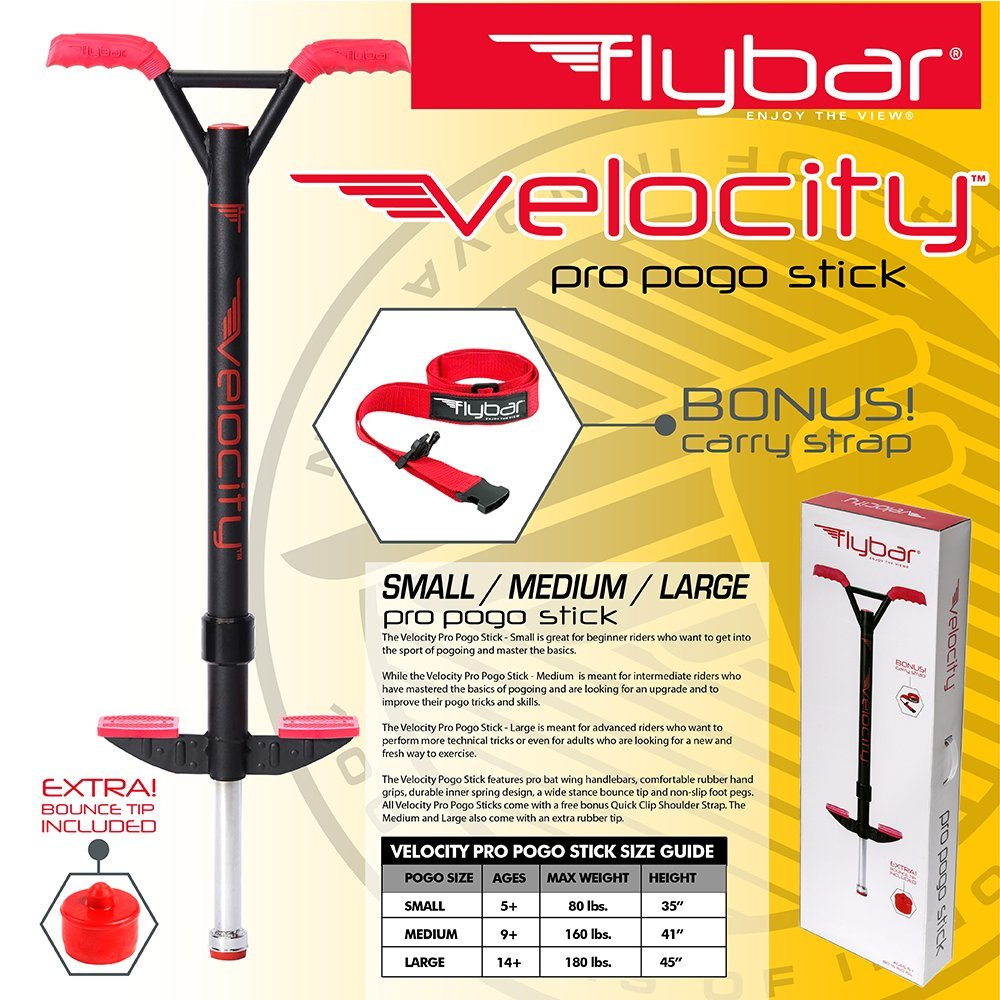 - Blue Flybar Velocity Pro Trick Pogo Stick for Kids /& Adults Comes in Small Medium Red 90 to 180 lbs 80 to 160 lbs 40-80 lbs Or Large Teal