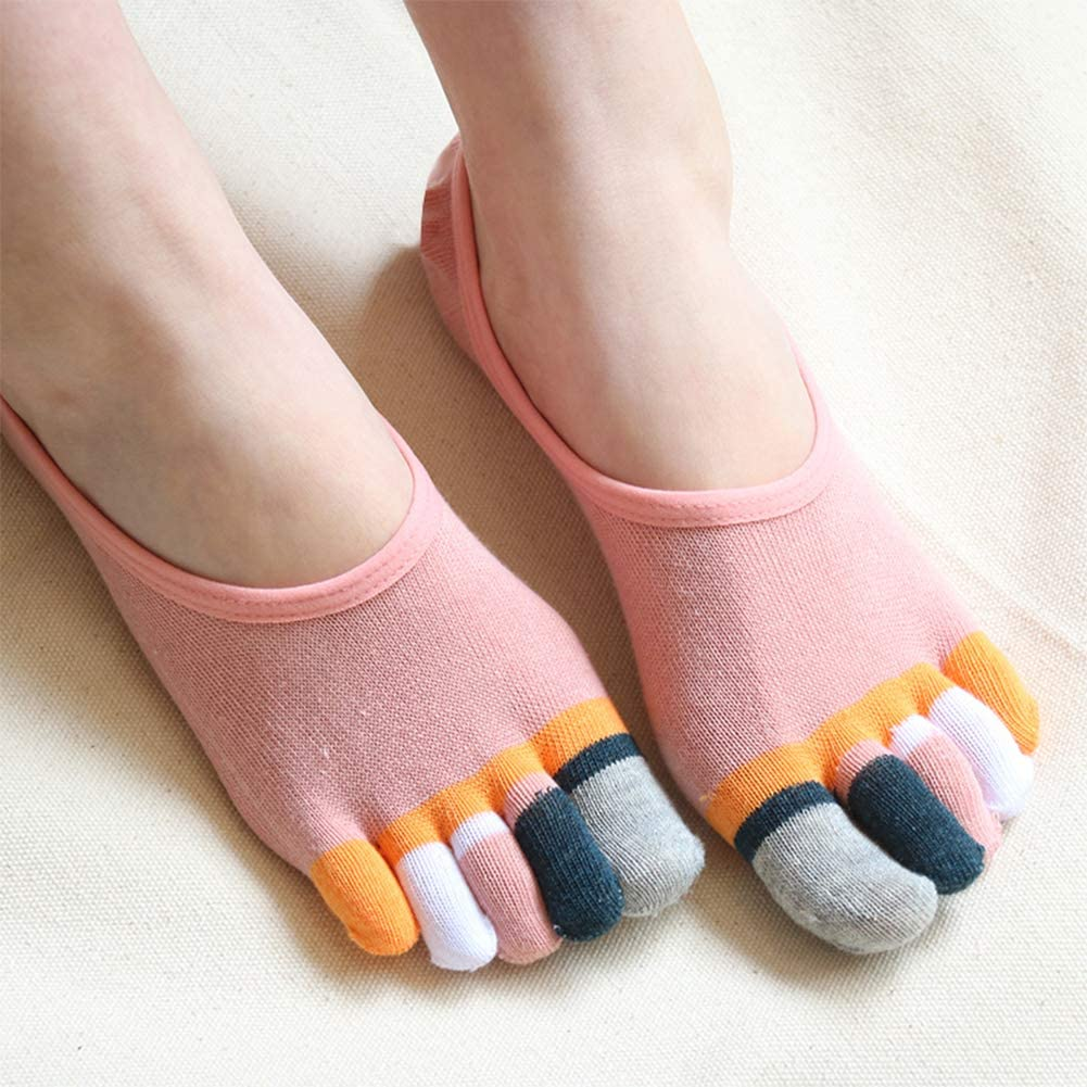 Toe Socks No Show /& Liner Socks Cotton Low Cut Five Finger Socks for Women by Meaiguo
