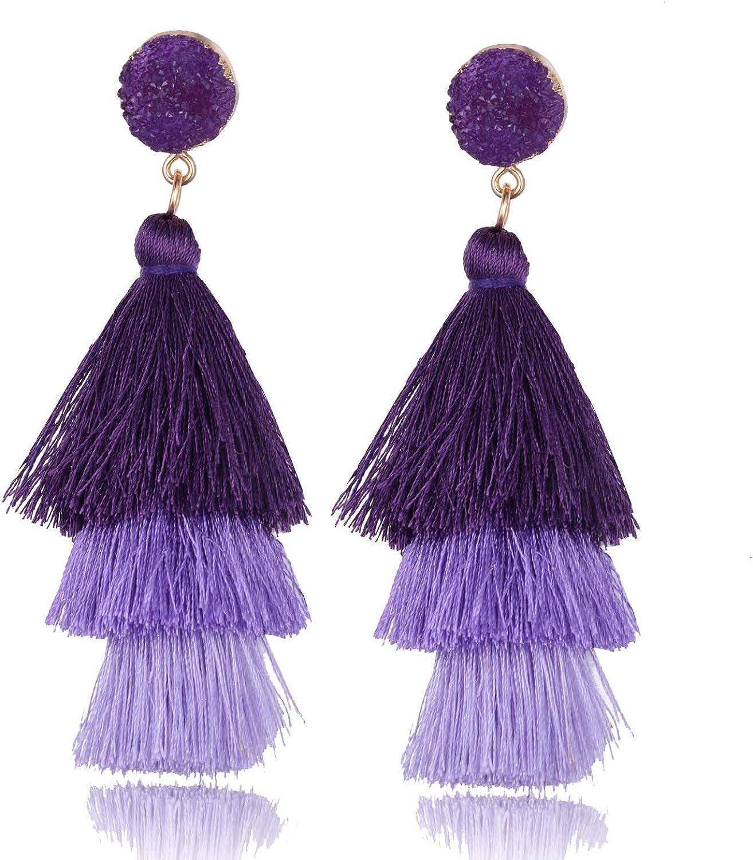 BGAFLOVE Tassel Earrings Colorful Long Layered Thread Ball 3 Tier Big Dangle Drop Earrings Bohemia Fan-shaped Hoop Stud Earrings for Women Girls Party and Daily Wear