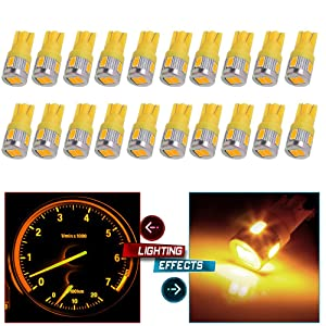 cciyu 194 Extremely Bright LED Bulbs T10-6-5730-SMD Interior Lights Dashboard Gauge Light Speedometer Odometer Tachometer LED light Instrument Panel Light Wedge T10 168 2825 W5W Xenon Yellow Pack of