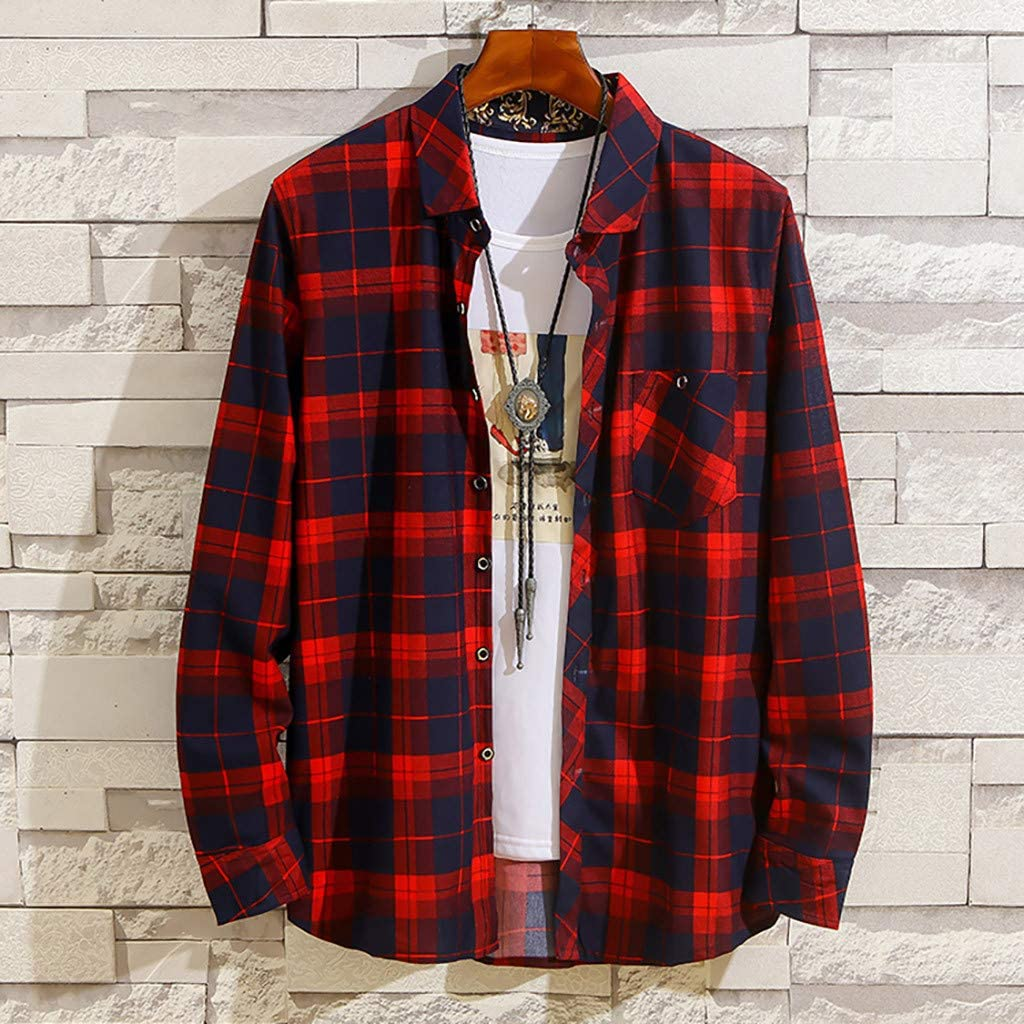 UNSHOU Mens New Casual Fashion Plaid Loose Lapel Long Sleeve Shirt Tops Blouse Tunic Shirt