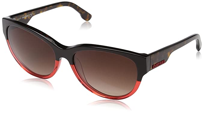 Diesel Mujer Cat Eye Gafas de sol, Marrón (Havana/Rosso), 57 ...