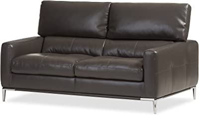 Baxton Studio Austen Modern and Contemporary Living Room Bonded Leather Upholstered 2-Seater Loveseat Settee, Pewter Gray