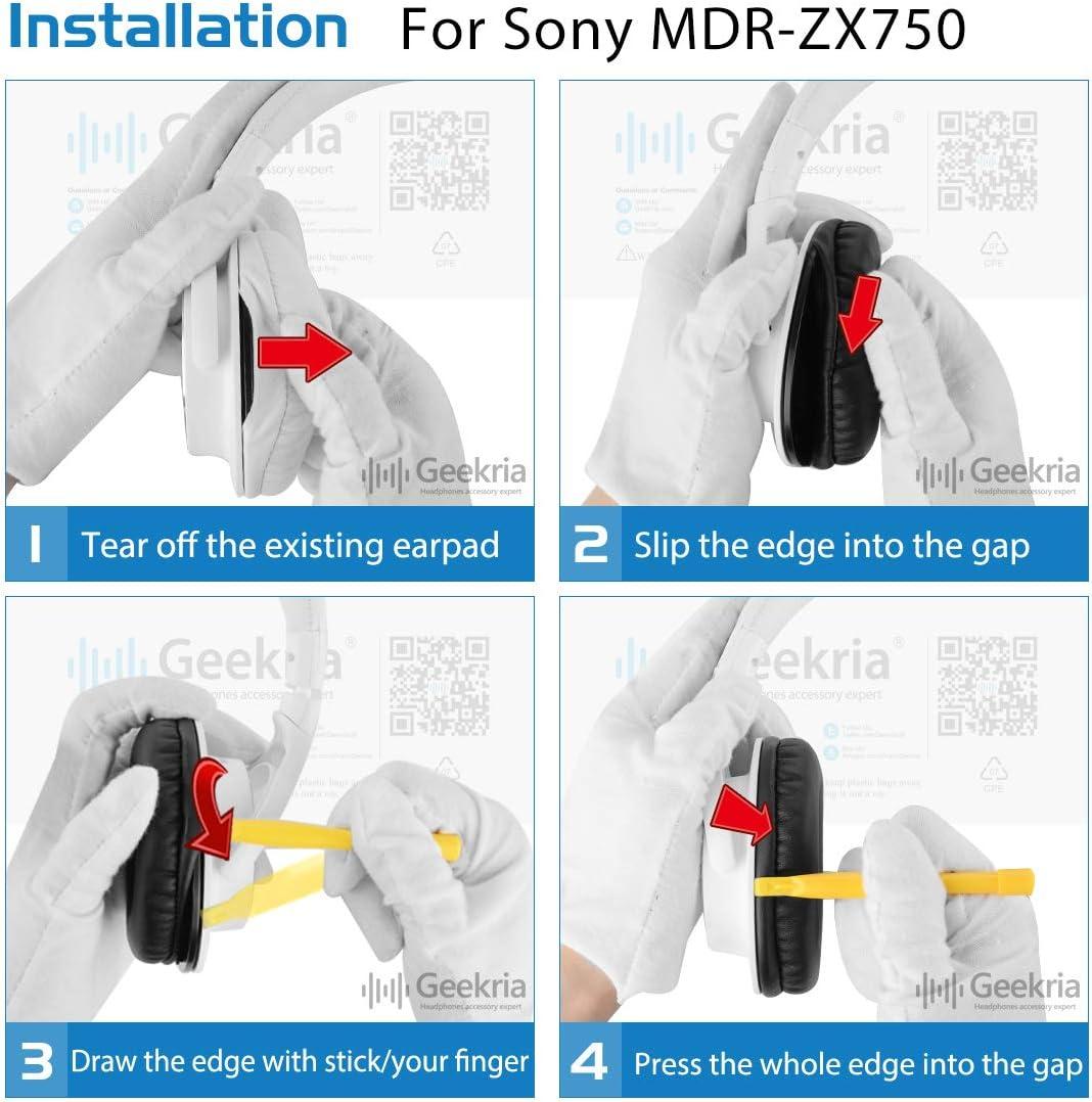 Geekria QuickFit Protein - Almohadillas de piel para auriculares Sony MDR-ZX750DC MDR-ZX750 MDR-ZX750AP MDR-ZX750BN de repuesto, almohadillas de ...