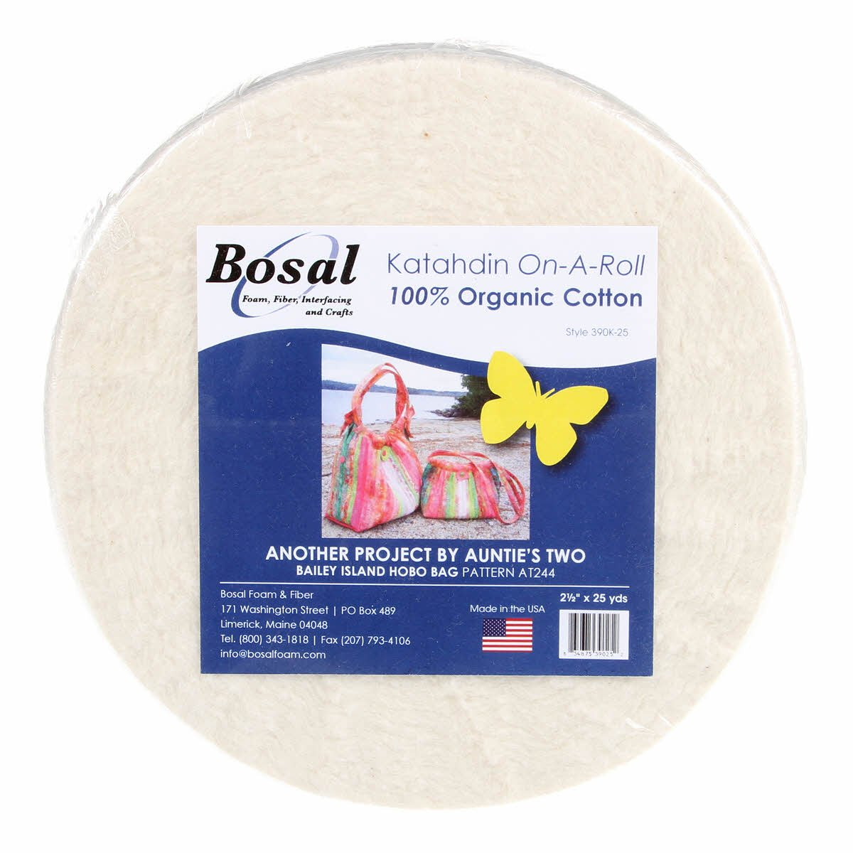 Bosal Katahdin Batting On-A-Roll, Summer 3 oz, 2-1/2 inch by 25 yards, 100% Organic Cotton (1 Roll),Off-White 390K-25