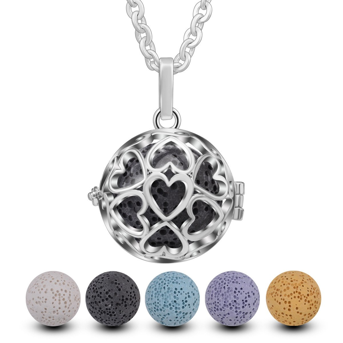 EUDORA Fashion Volcanic Rock Beads Locket Pendant Essential Oil Diffuser Necklace fit for Youngliving