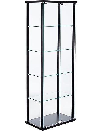 ebfe9d875443 5-Shelf Glass Curio Cabinet Black and Clear