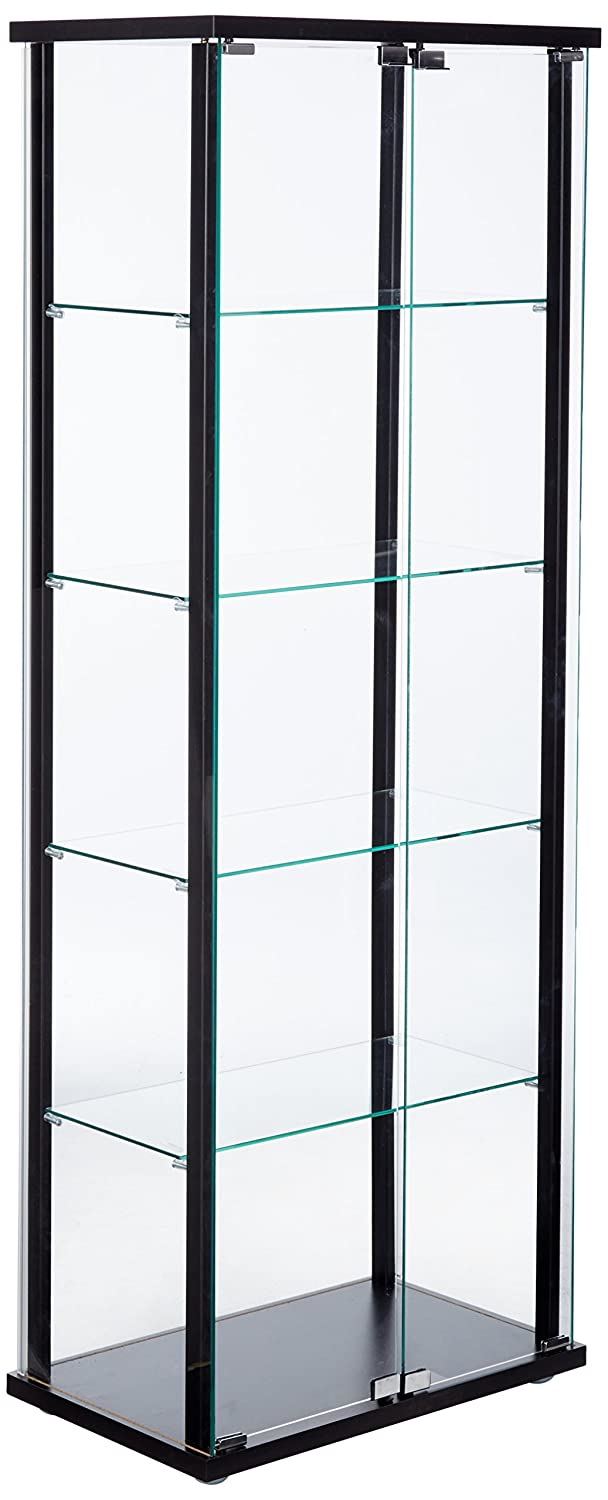 5-Shelf Glass Curio Cabinet Black and Clear Coaster Home Furnishings 950170ii