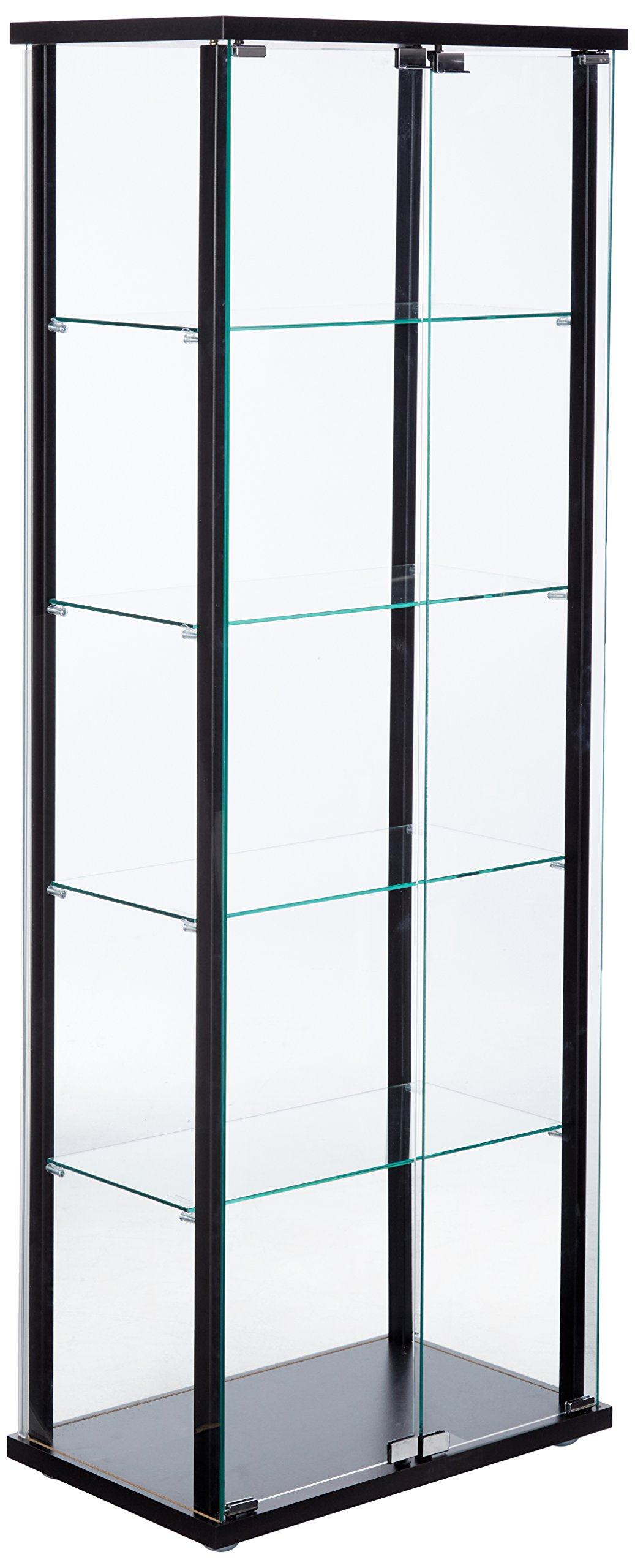 5-Shelf Glass Curio Cabinet Black and Clear by Coaster Home Furnishings