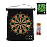 Ukayed Magnetic Reversible Dartboard & Golf Dart Game 6 Darts Roll Up Easy To Store & Play & Safe Traditional Dart Board One Side & Golfing Round Game On Other Side Easy to Hang