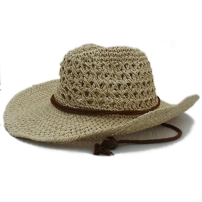 ... Toquilla De Paja Sombrero Estilo Simple De Vaquero Caballero Panamá Jazz Padrino Sombrero Gorra Sombrero De Playa Gorras: Amazon.es: Ropa y accesorios
