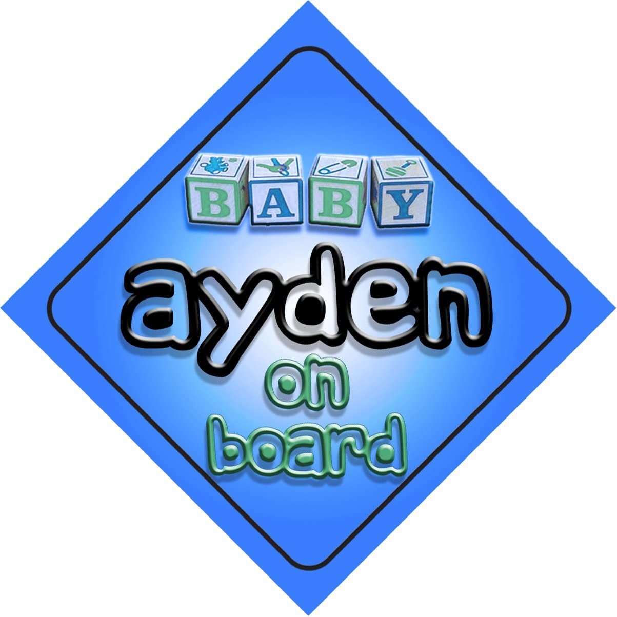 B/éb/é Gar/çon Ayden on Board fantaisie Panneau de voiture Cadeau//cadeau pour nouveau//enfant nouveau-n/é