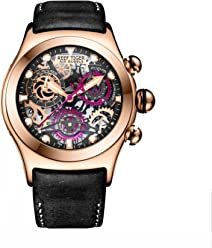 Reef Tiger Luminous Skeleton Watches Mens Rose Gold Sport Watches Leather Strap RGA792
