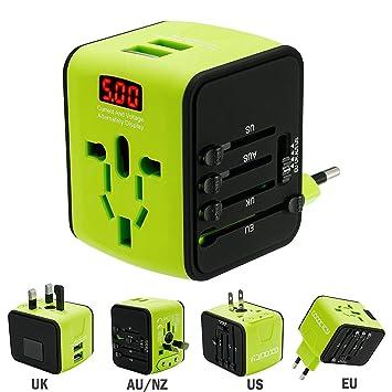 FEIGO Adaptador Enchufe de Viaje Universal Dos Puertos USB Cargador Internacional con MAX 2.4A para US EU UK AU Japon Asia África Más de 150 Países y ...