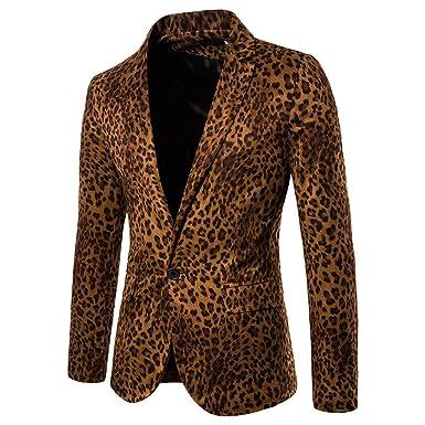 MrTom Chaqueta de Traje para Hombre Leopardo Impresión ...