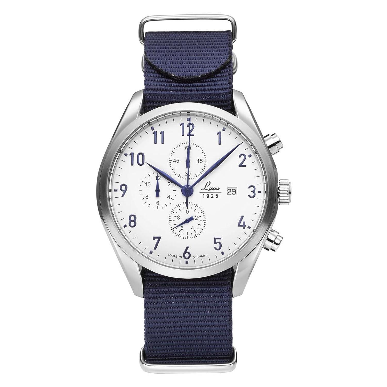Laco Helgoland Herren-Chronograph Weiß-Blau Nylonarmband 861989