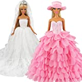 Barwa White Wedding Dress With Veil And Pink Princess Evening Party Clothes Wears Gown Dress Outfit With Hat For Barbie Doll