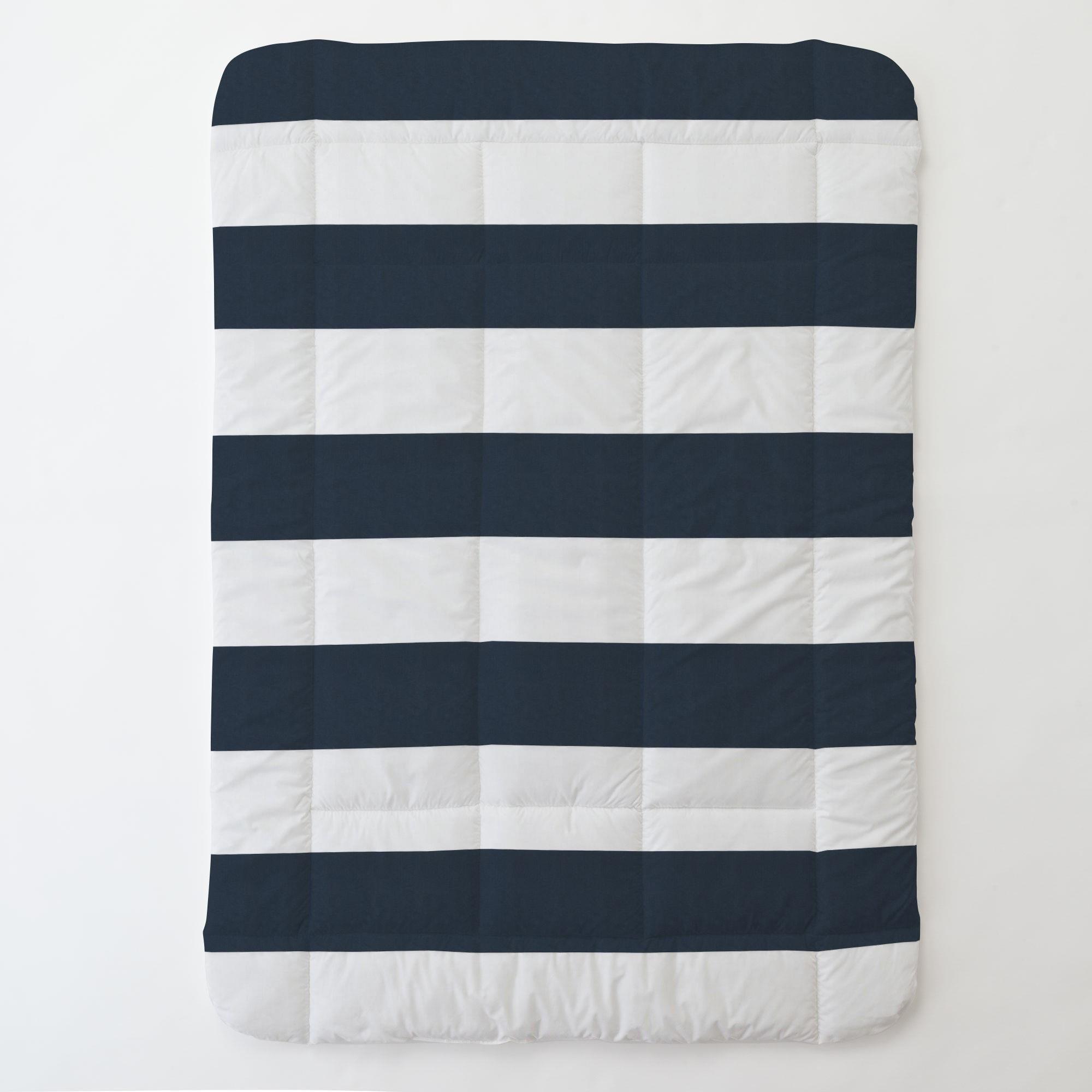 Carousel Designs Navy Horizontal Stripe Toddler Bed Comforter