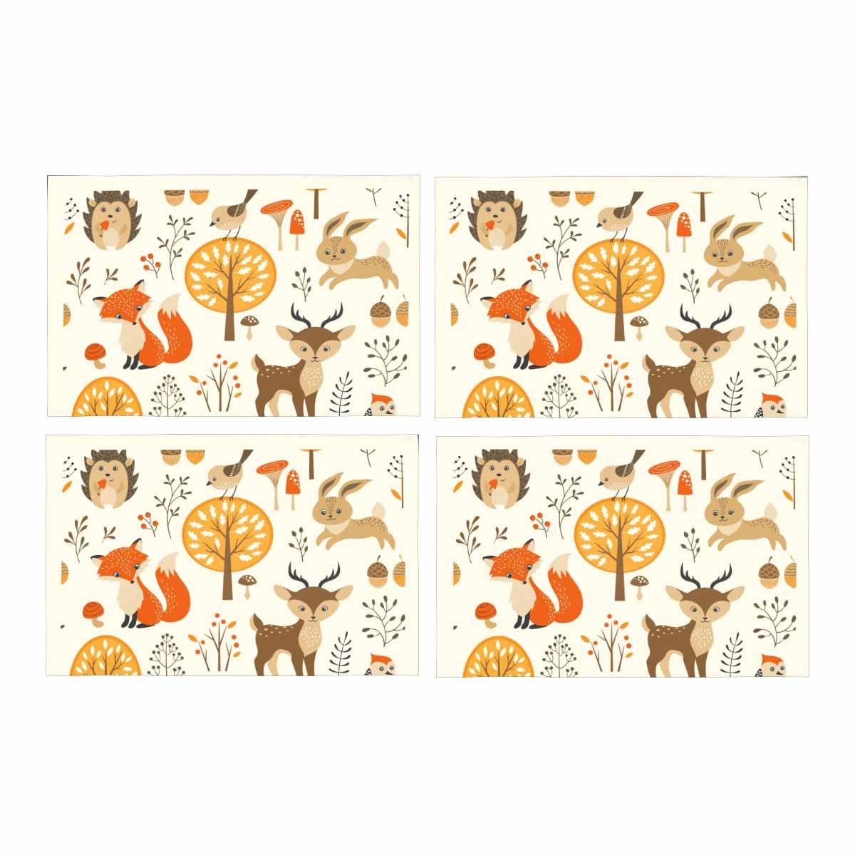 InterestPrint Autumn Forest Harvest with Cute Animals Placemat Place Mat Set of 4, Fall Tree Fox Deer Table Place Mats for Kitchen Dining Table Restaurant Home Decor 12''x18''