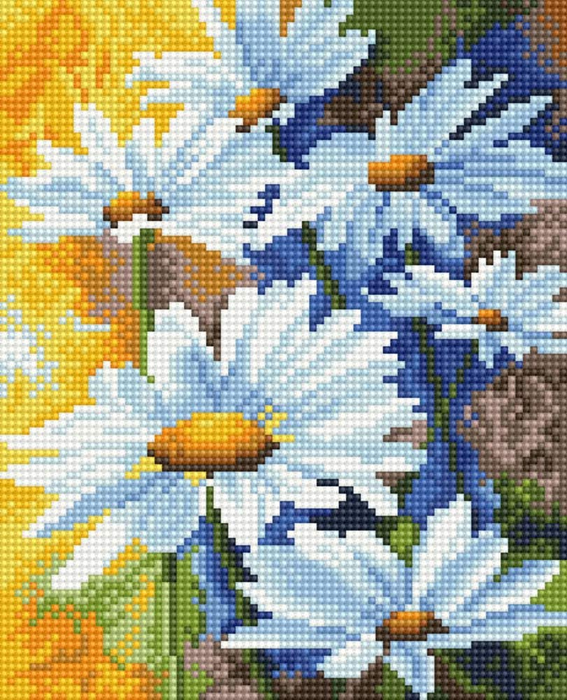 14x 12 White Chrysanthemum TINMI ARTS 5D Diamond Painting Kits for Adults Full Round with AB Drills Mosaic Cross Stitch Kits Embroidery Kits Home Wall Decor