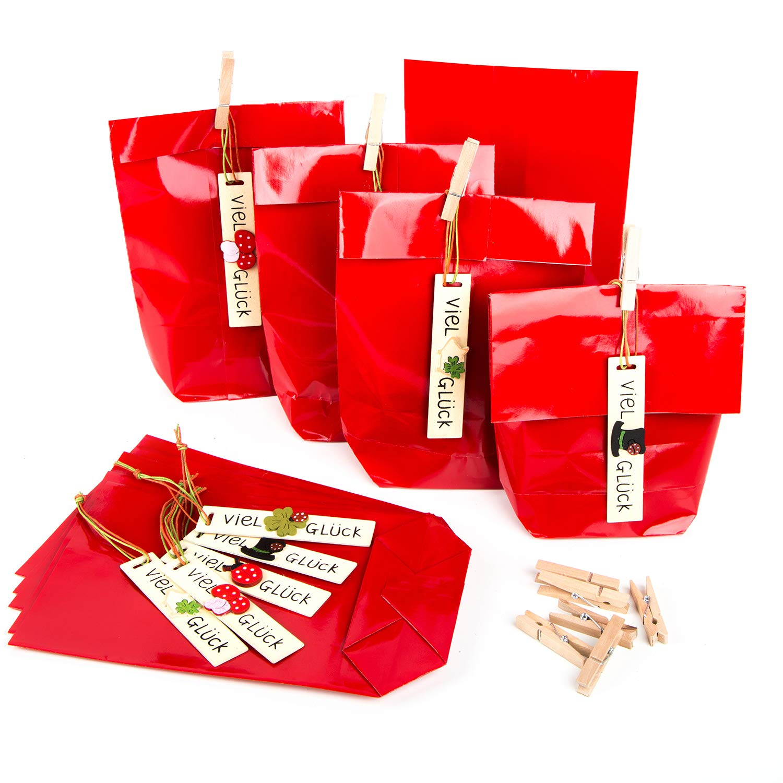 25 ROTE VIEL GLÜCK KLEEBLATT Schweinchen Hufeisen Tüten Verpackung Weihnachten Weihnachten Weihnachten Silvester Geburtstag Hochzeit 14 x 22 x 5,6 cm Geschenktüten Kunden Gastgeschenke B07K5RYDC6 | Verbraucher zuerst  f98a82