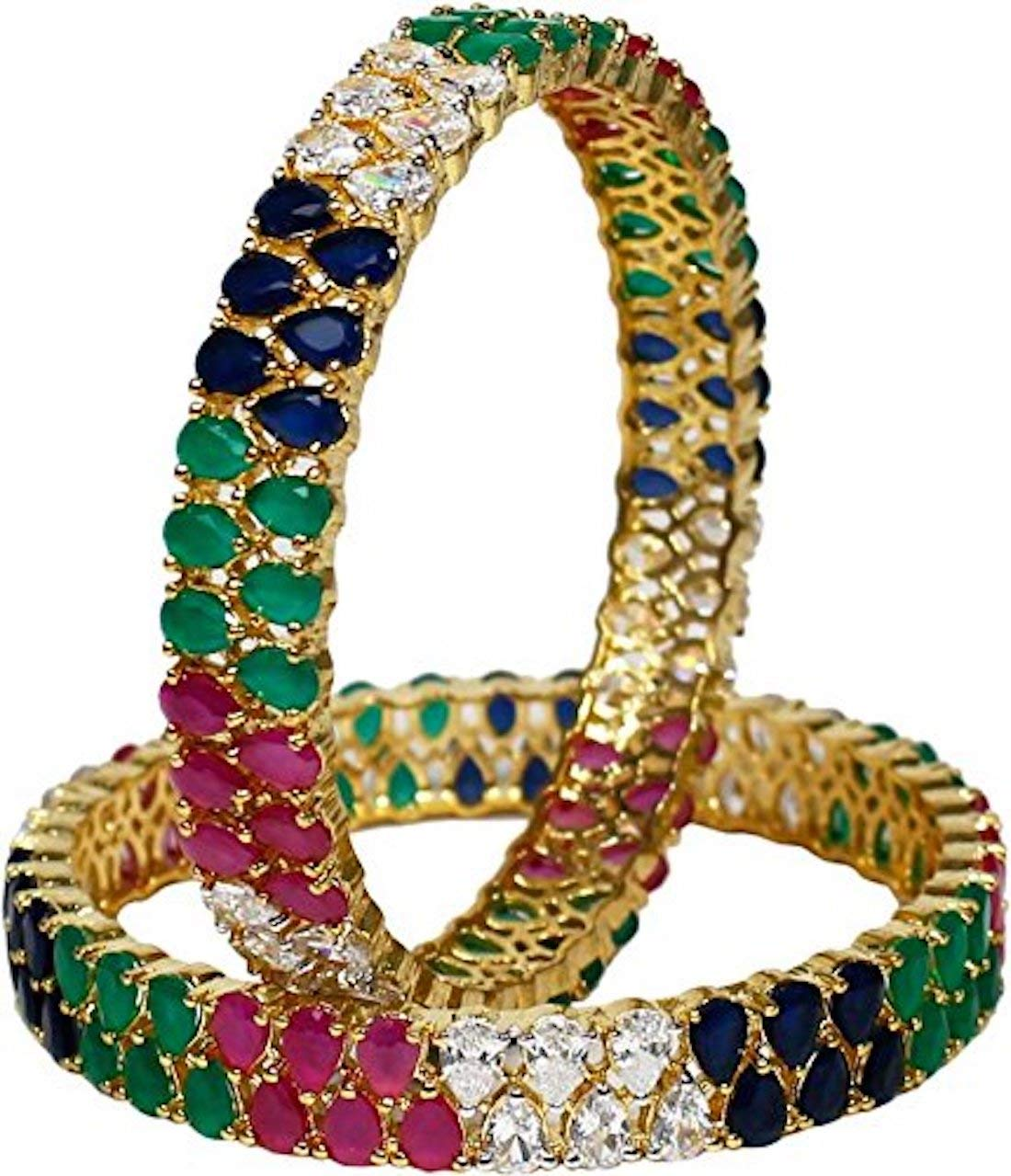RATNAVALI JEWELS CZ Zirconia Gold Tone Multi color Diamond Elegant Bollywood Indian Bangles Jewelry Women (2.11)