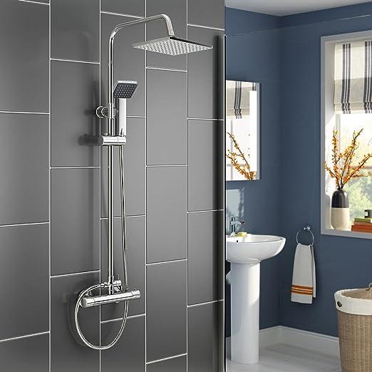 Columna de ducha fija de una sola manija con cabezal de ducha ...