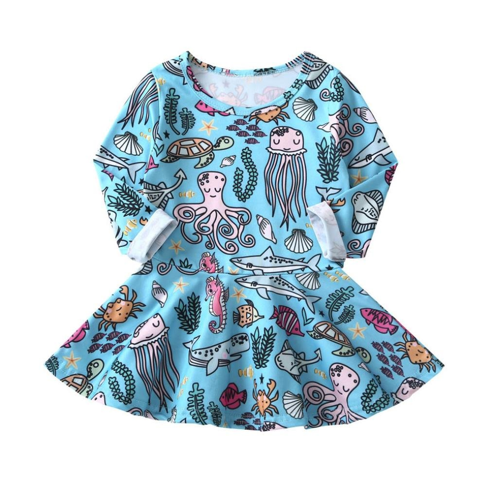 Girls Cotton Cartoon Animal Print Long Sleeve Comfort Casual Dresses Willsa Baby Dress