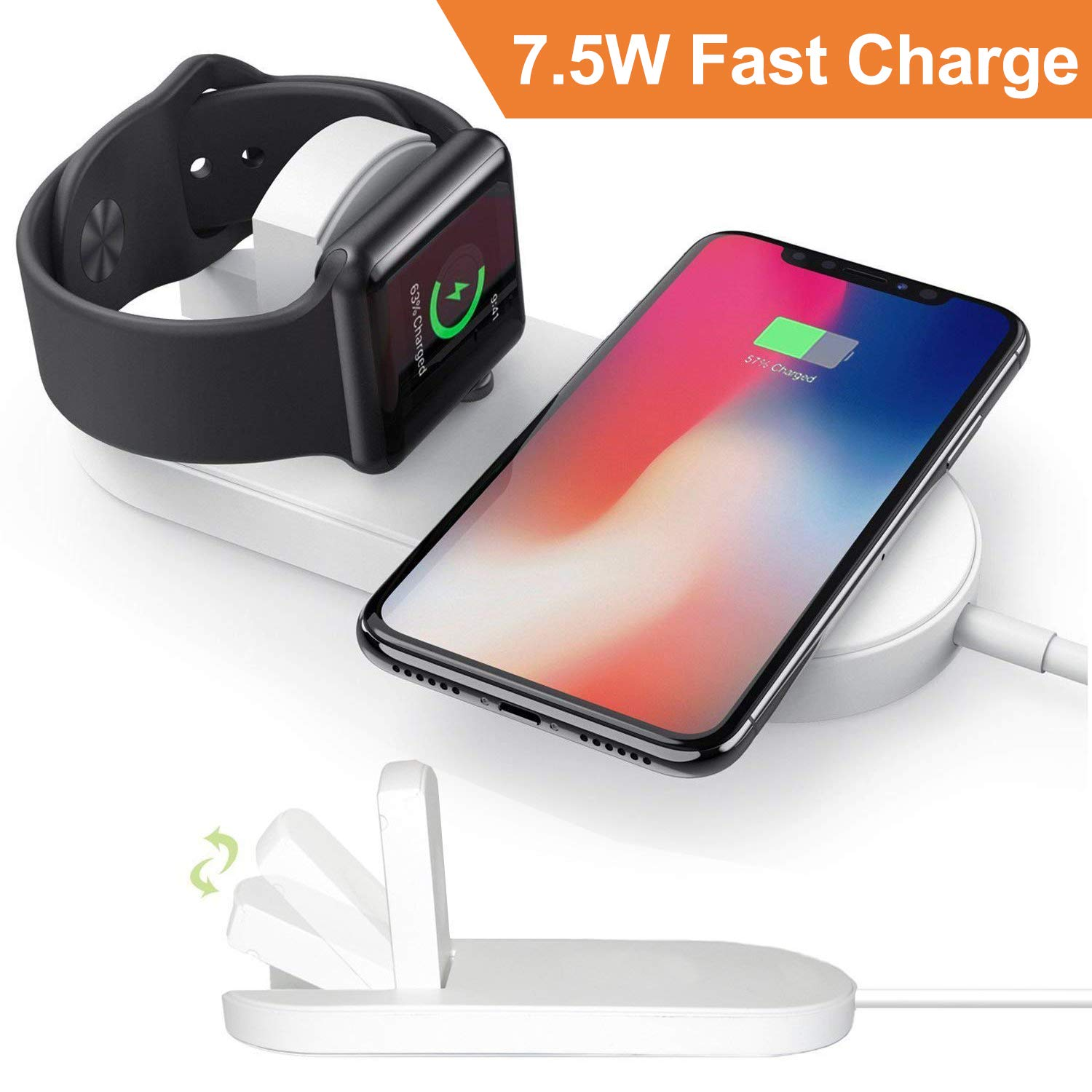 CulaLuva Magnetic Wireless Charger 2-in-1 Pad Stand Cable Compatible with Apple Watch, for iPhone X/8/8 Plus, compatible with iWatch Series 1/2/3, 38mm 42mm, Samsung S8 Series, Note 8 by CulaLuva