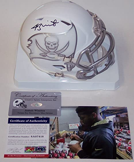 Amazon.com  Jameis Winston Autographed Hand Signed Tampa Bay Buccaneers ICE  Speed Mini Helmet - PSA DNA  Sports Collectibles 1212fad6b