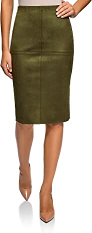 oodji Ultra Women's Faux Suede Pencil Skirt with Raw Hem