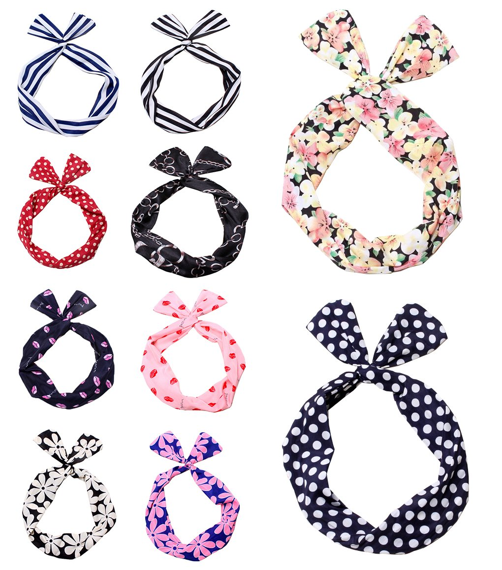 AMENL 10pcs Hair Tie Polka Dot Stripe Flower Ribbon Rockabilly Bunny Rabbit Ear Girls Hair Band Tie Twist Bow Wire Headband Scarf Wrap