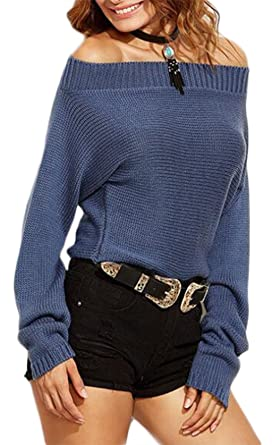 Image Unavailable. Image not available for. Color  Women Sexy Off Shoulder  Long Sleeve Autumn Winter Sweater knitted Jumper Top 70967ea13