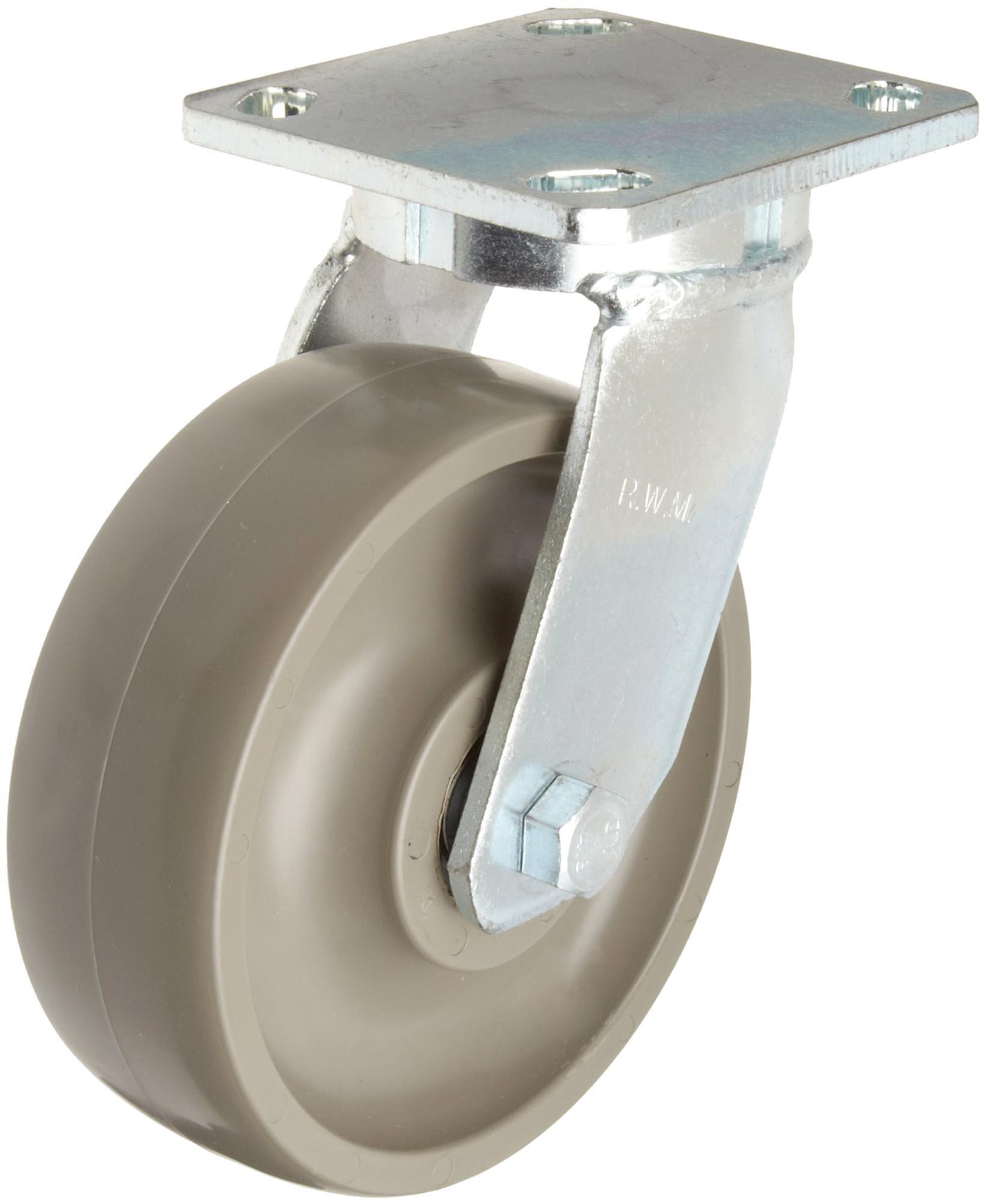 RWM Casters 65 Series Plate Caster, Swivel, Kingpinless, Urethane on Aluminum Wheel, Ball Bearing, 1500 lbs Capacity, 8'' Wheel Dia, 2'' Wheel Width, 10-1/8'' Mount Height, 4-1/2'' Plate Length, 4'' Plate Width